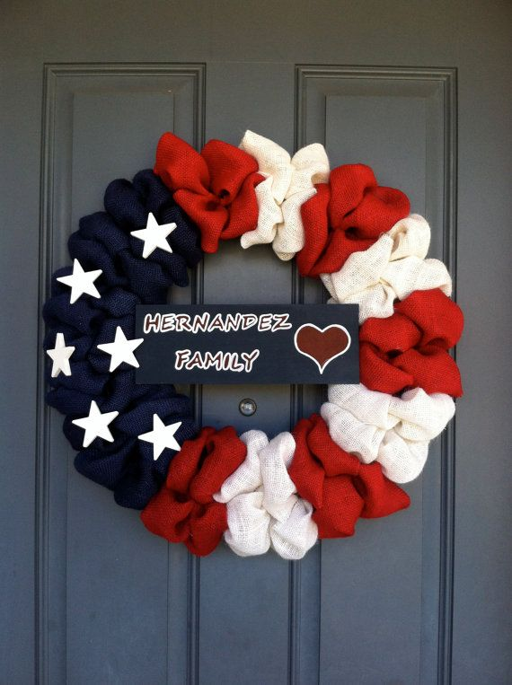 Burlap American Flag Wreath with a Hand Painted Sign via Etsy