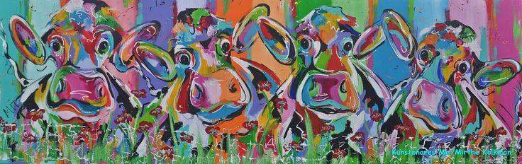 Veelzijdig kleurrijk kunstenares Mir/ Mirthe Kolkman waaronder koeienschilderes.  koe kleurrijke koe koeienkunst kleurrijk kunstwerk koe in de wei hollandse koe gezellige vrolijke koe koeienkop cows from holland cowpainting koeienschilderij koeien schilderen dierenschilderij kalfjes bloemen hartjes grappige koeien koe samen met kalf dutch cows cowartist