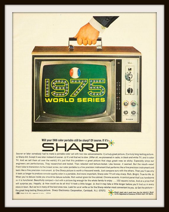Original full page vintage advertisement. 1968 Sharp Portable TV ad. Vintage Sharp ad. Vintage TV ad. Sharp Electronics Corporation.   Will your 1968 color portable still be sharp? Of course. If it's a SHARP. 1975 World Series.