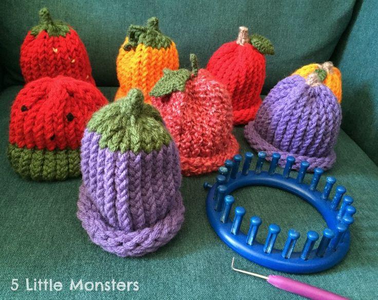 Fruit Hats on a Knitting Loom
