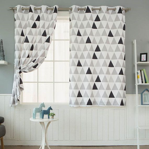 Geometric Fully Lined Blackout Curtains White Eyelet Ring Top Grommet Curtains Pair for Bedrooms and Living Rooms