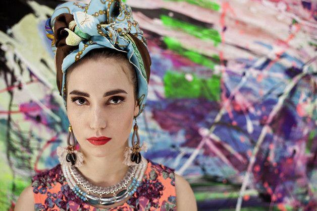 Statement Ketten - Statement Kragenkette mit türkisen Perlen - ein Designerstück von gudbling bei DaWanda