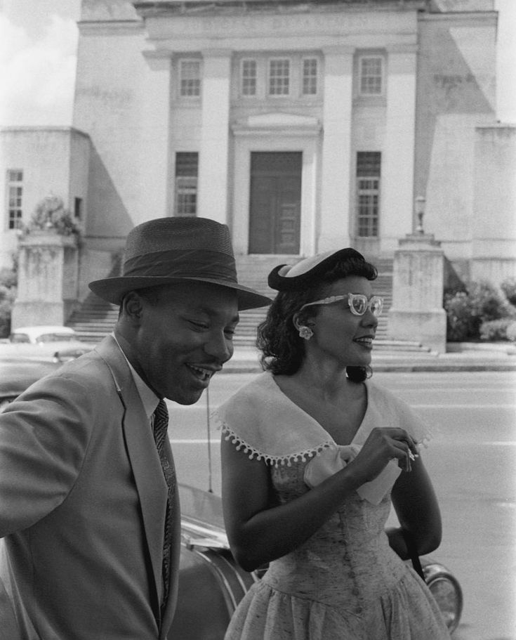 1956, Montgomery: We forget what a young couple they were! Martin and Coretta King, across the street from the Alabama Judicial Building in May 1956.