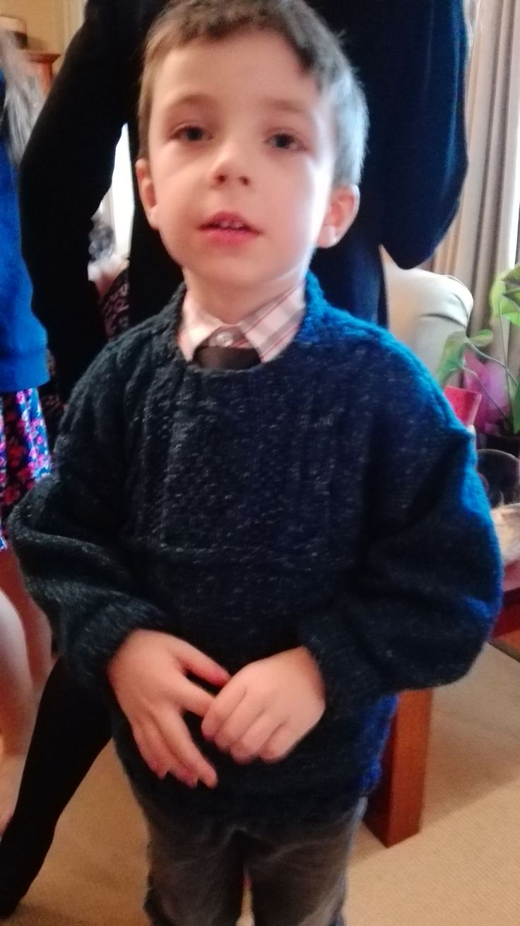 Grandie Louis wearing his Granny knitted jumper with cable inset.