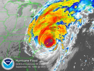 Satellite Imagery of Hurricane Floyd on 1999/09/16 at 0645Z - Click to enlarge