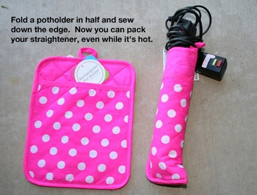 Fold a potholder in half and sew it up, now you can pack your straightener even when it is hot.