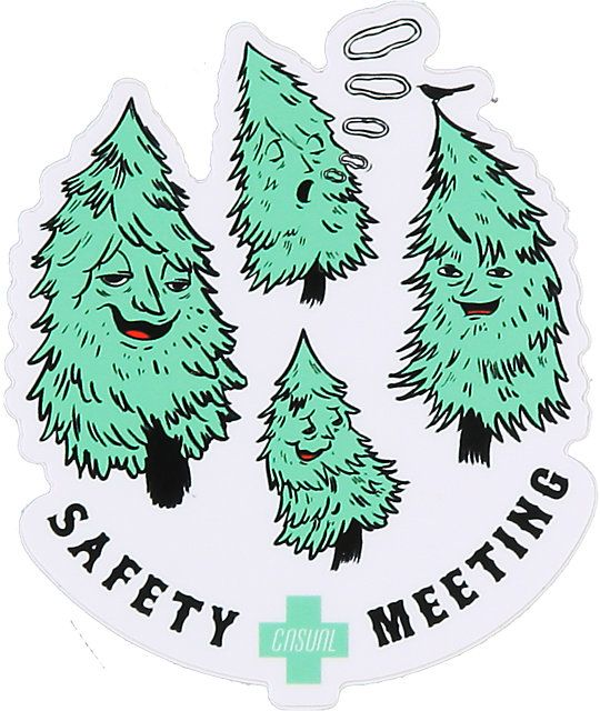 "Add some flare to your board or desk with the Casual Industrees Safety Meeting sticker. This 3"" x 3.5"" vinyl peel and stick die-cut sticker features a custom Casual Industrees Safety Meeting and trees blowing smoke rings graphic for some high times approv"