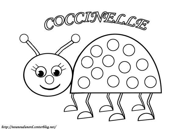 Coloriage à gommettes la coccinelle dessiné par nounoudunord