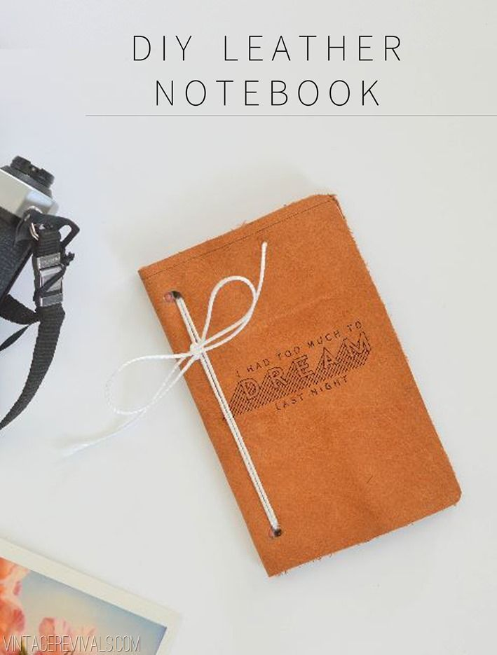 DIY Leather Notebook this handmade journal would be a great, personalized Christmas gift! | Vintage Revivals