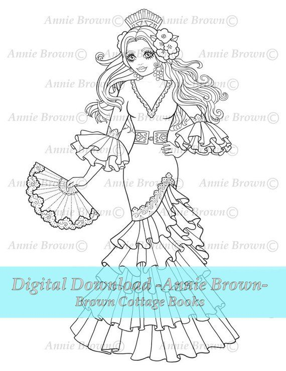 Adult Coloring Page Maiden Printable Download Fantasy Digi Etsy