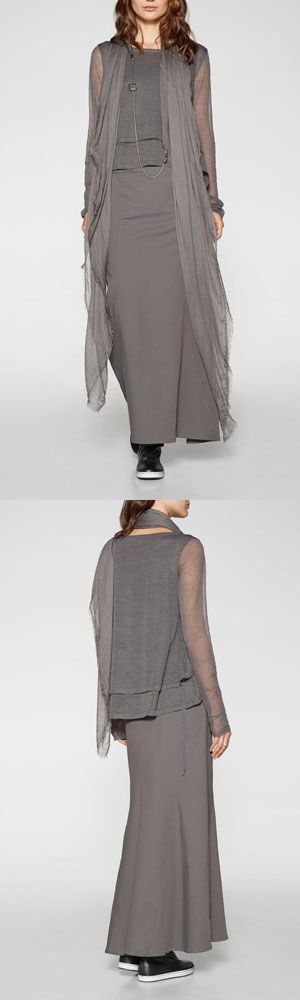 All grey outfit by Belgian fashion designer Sarah Pacini. Long assymmetric flared skirt, layered top and flowy chiffon scarf