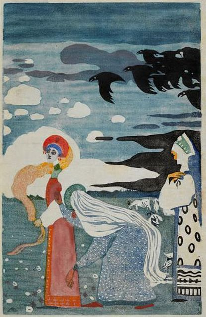 "Wassily Kandinsky - ""Les Corbeaux (Crows)"". 1907 year Munich, Stadtische Galerie in Lenbach, Germany"