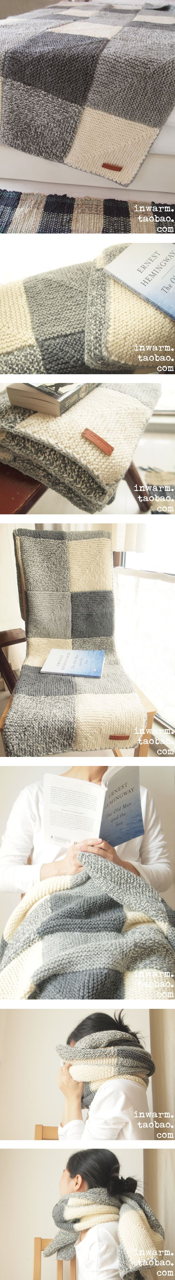 Knit blanket mitered squares
