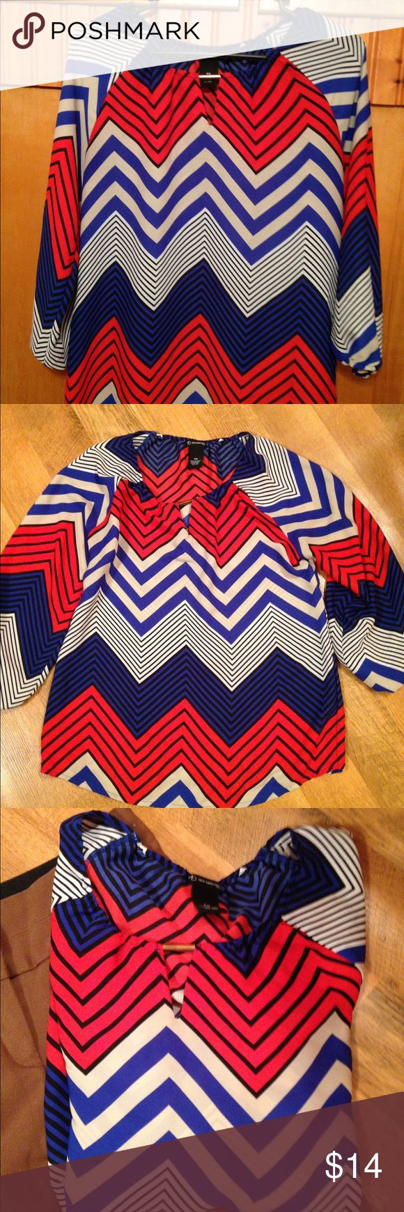 Chevron Top Beautiful Chevron print top by new direction. Light weight, 3/4 length sleeves. Great colors that go with multiple color slacks or skirts. Size is petite medium, true to size. Easy care! PLEASE ask questions before purchasing if you have any!!!! new directions Tops