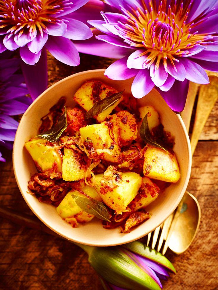Devilled potatoes (ala thel dala)