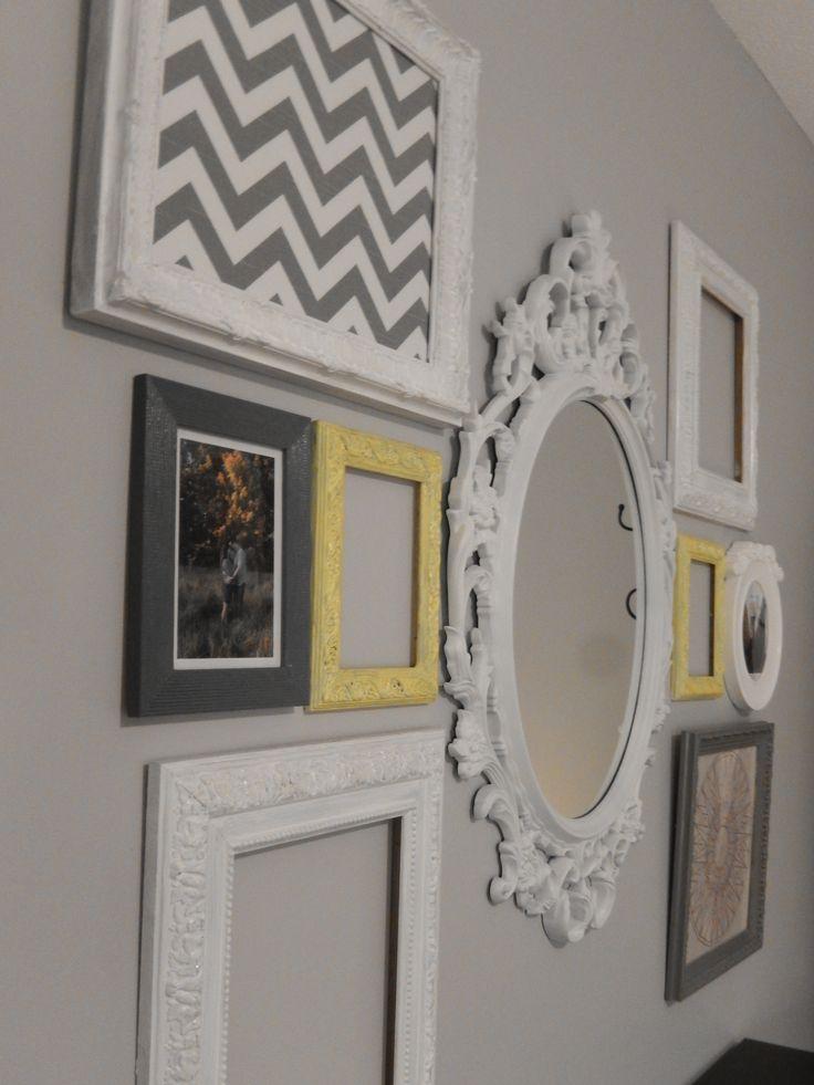 Montage de cadres vintage blanc, gris, jaune / Vintage frames montage white, grey, yellow