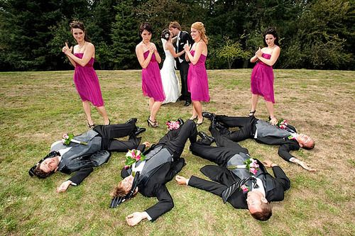Bang Bang...Bridesmaids take out Groomsmen in one shot!