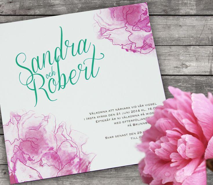 Rosa pion inbjudan, inbjudningskort, bröllopsinbjudan, bröllop, monogram  Pink peony wedding invitation