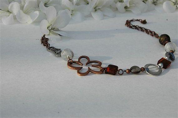 Short red copper flower necklace flower by BijouChantaleGelinas, $25.00