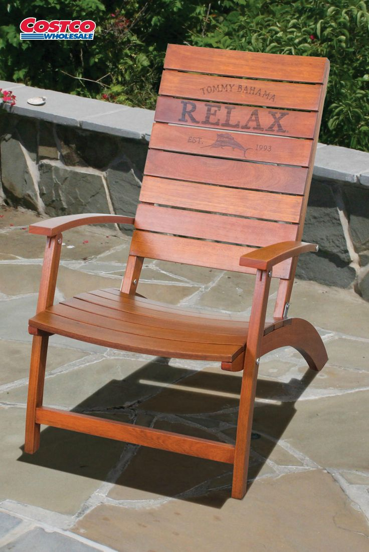 The Tommy Bahama folding Adirondack chair offers casual