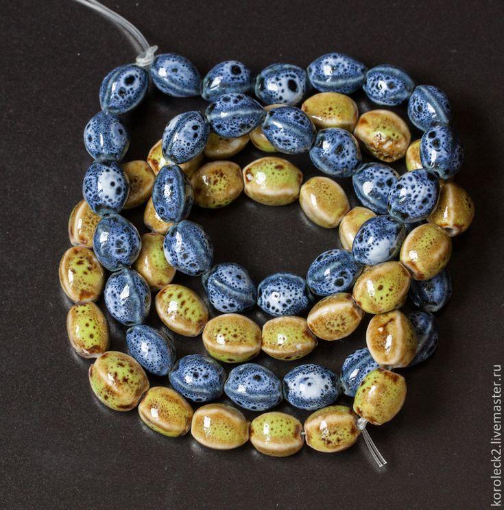 Купить Фарфоровые синие и лаймово-зеленые продолговатые бусины, 12 мм - бусины…
