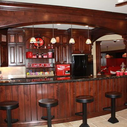 Coca Cola Bar. Love The Wooden Cabinets And Bar Stools! Basement Beams Are  Worked