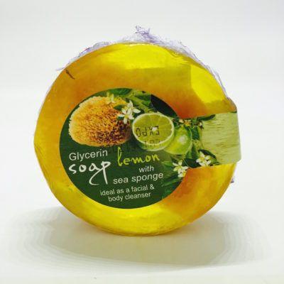 Glycerine zeep met zee- spons en citroengeur. Ideaal als scheerzeep