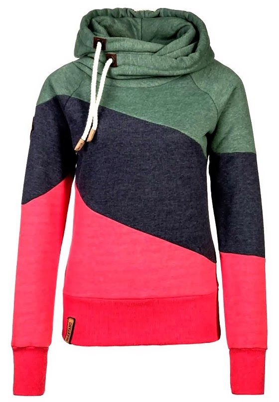 Long Sleeves Tri Colored Neck Layer Hoodie