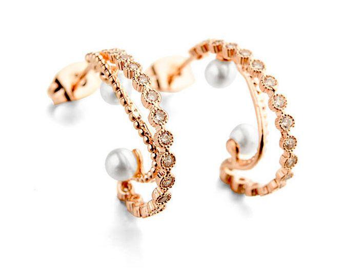 Crystal - Pearl stud earrings - Affordable earrings - Online Australia