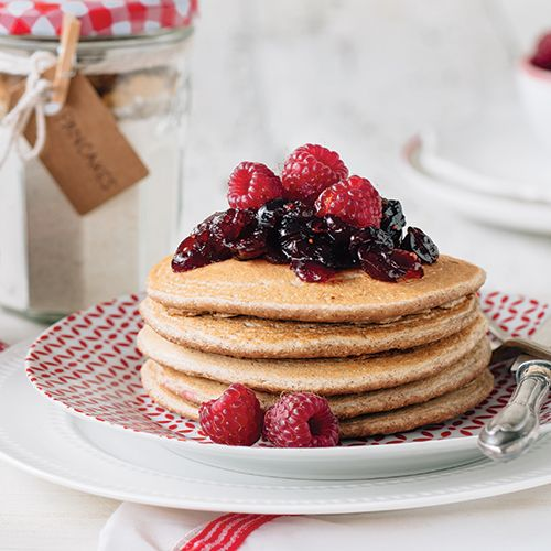 This gingerbread pancake mix is a perfect edible gift during the holidays. Or whip this up for your own family during your break.