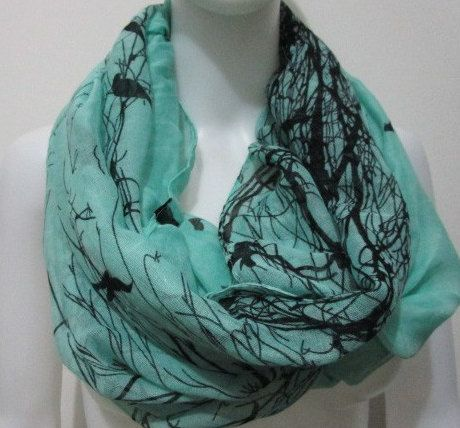 Free Shipping Green Infinity Tree and Bird Pattern Scarf Viscose Women Scarf  Women Mother Gift Scarves Summer Spring Scarf  Women Scarf by FlowersButterflies15 on Etsy
