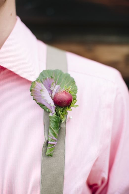 Vegetable patch inspired wedding floral crown, bouquet and buttonholes with herbs, cabbages and cornflowers - the natural wedding company uk