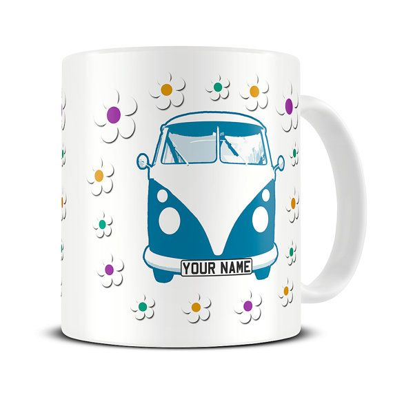 Personalised Flowery VW Campervan Coffee Mug - campervan gifts - birthday mugs - camper - MG369