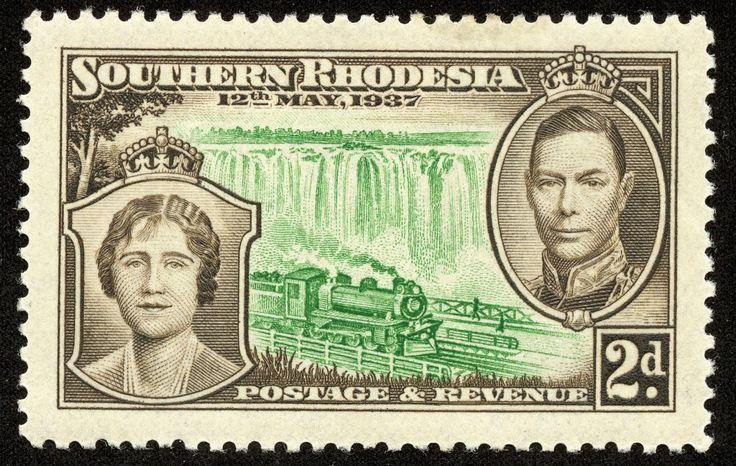 "Southern Rhodesia 1937 Scott 39 2p brown & green ""Queen Elizabeth, George VI"""