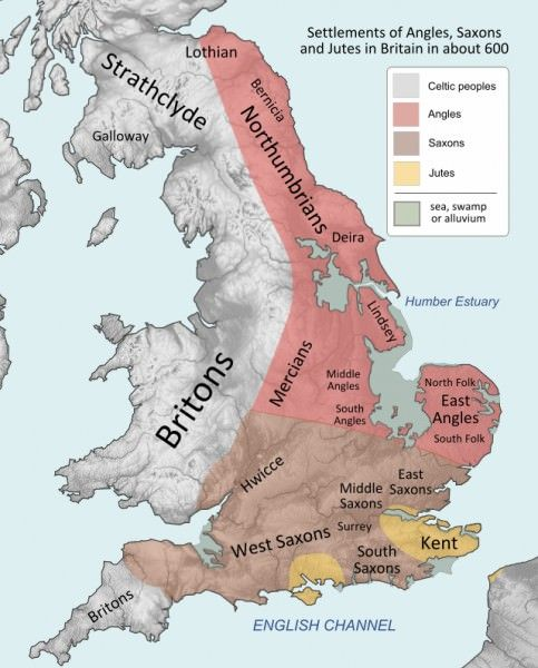Approximate distribution of the different groups living in Britain in c. 600 CE.