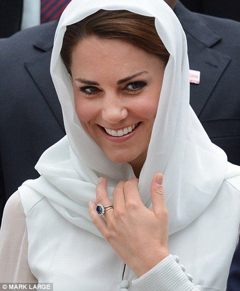 Glowing: Kate radiated with health during the couple's visit to the Assyakirin Mosque in Kuala Lumpur, Malaysia on their Diamond Jubilee tour