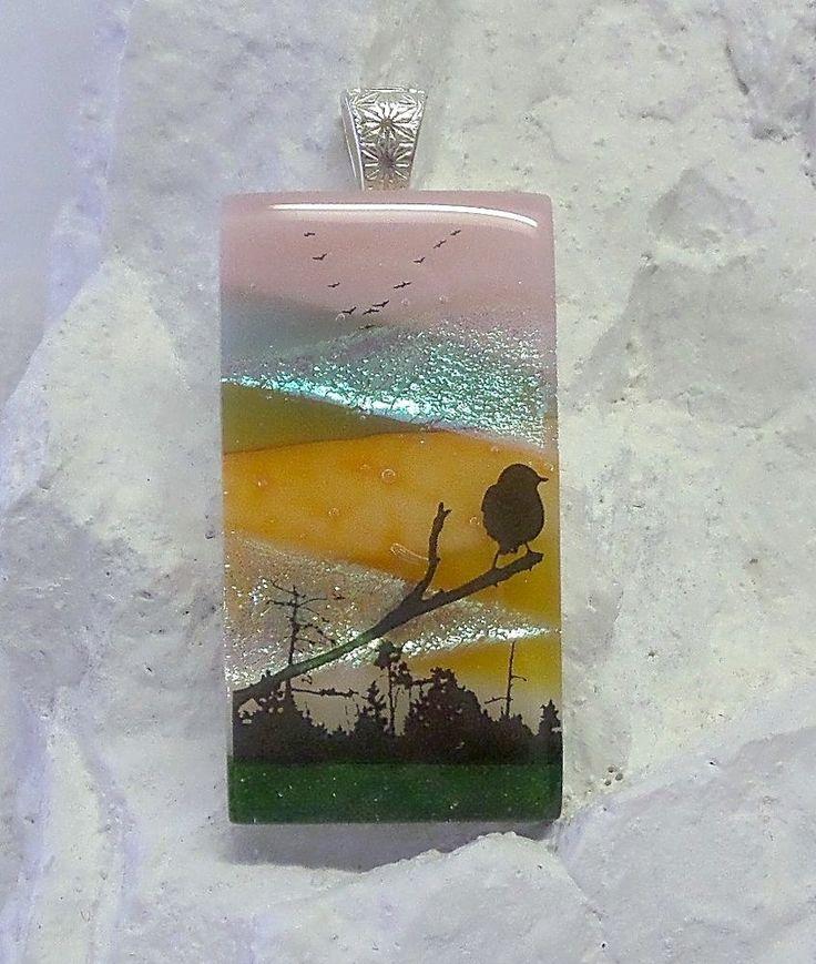 Dichroic Fused Glass Wearable Art Bird n Branch USA Artisan Lolas Glass Pendants #LolasGlassPendants #PendantforNecklace