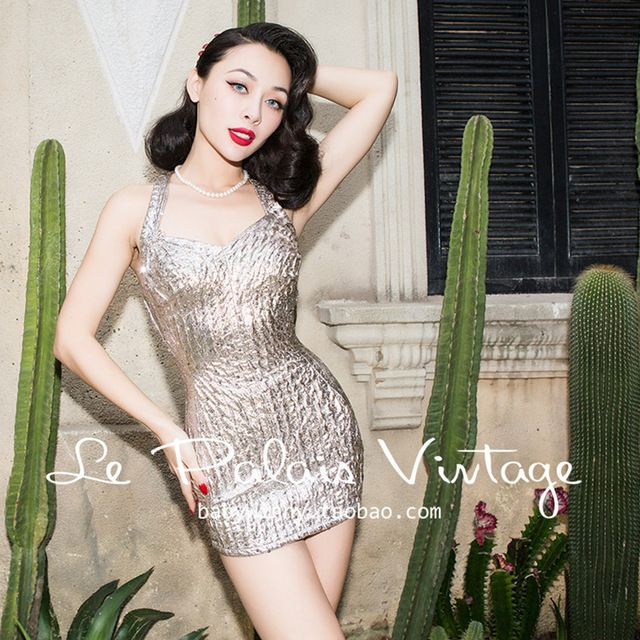 FREE SHIPPING Le Palais Vintage 2016 Summer New Sexy Vintage 50s Silver Sequined Halter Jumpsuit Swimsuit Women Slim Swimwear US $73.15  CLICK LINK TO BUY THE PRODUCT  http://goo.gl/oYWEYs
