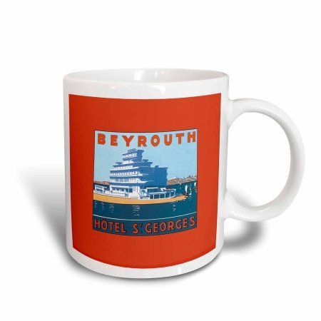 3dRose Beyrouth Hotel St Georges Hotel on the Waterfront Luggage Label, Ceramic Mug, 15-ounce