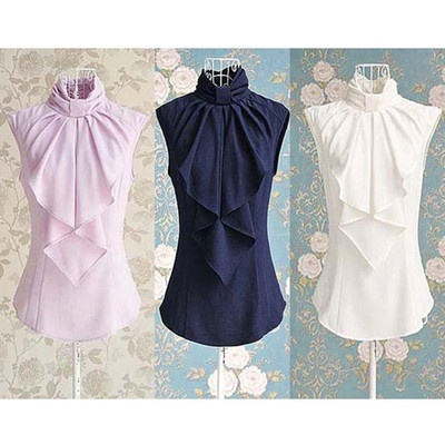 Elegant Damen Chiffon Bluse Ärmellos Volant Rüschen Shirt Top 3 Farben 34 36 | eBay