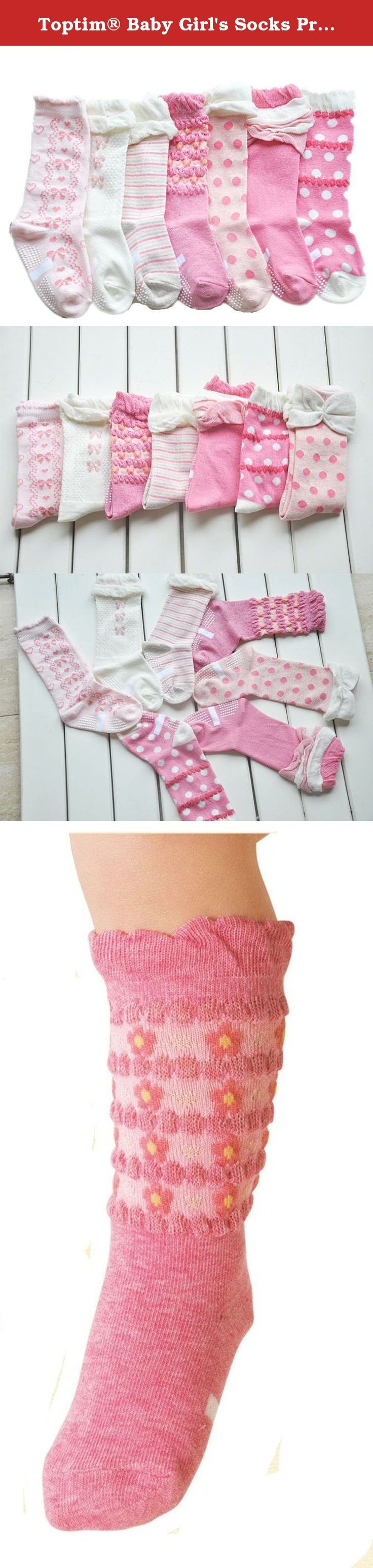 Toptim® Baby Girl's Socks Princess Non-skid Socks for Infants and Toddlers Value Pack (7 Pairs Pink). Made out of 85% cotton, 15% spandex Mixed 7 Colors a set Innovative socks for young children. These socks are lined on the bottom with a rubberized pattern of floor gripping dots that makes it easy to walk around the house wearing only the socks. Gripping soles lets your kids wear the socks around the house without your having to worry about them slipping and falling.