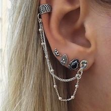 4Pcs/set New Arrival Bohemian retro style crown water droplets chain 4pcs one sets fashion earrings for women Gifts Retro style //FREE Shipping Worldwide //