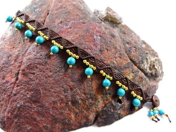 Tailandés tobillera turquesa perlas Micro Macrame Boho Tribal Surfer Hippie Chic las piedras preciosas