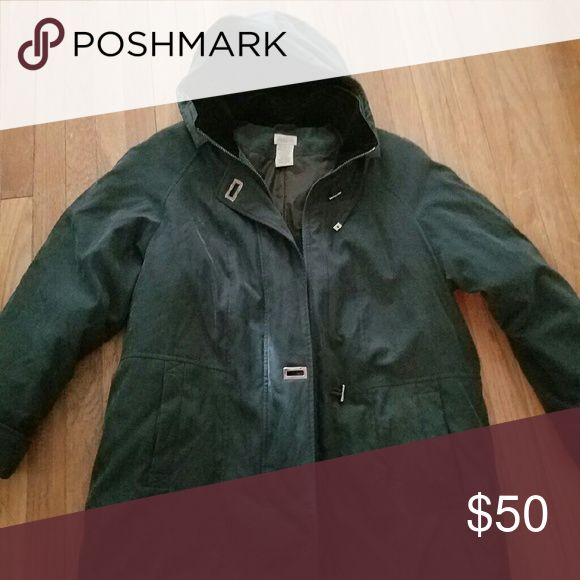 Ladies Winter coat DARK GREENISH IN COLOR. Zips and button clouse Jackets & Coats