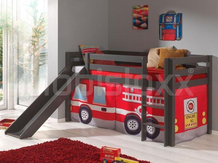 Lit enfant ALIZE avec toboggan 90x200 cm pin gris tente Pompier 1
