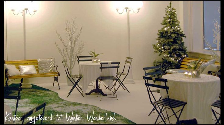 Winter wonderland personeelsfeest  | Kantoor ruimte omgetoverd, winter, wonderland, kerst, feest, kerstboom, sneeuw, aankleding, decoratie ,  Snow, christmas, party, decoration, christmas tree.