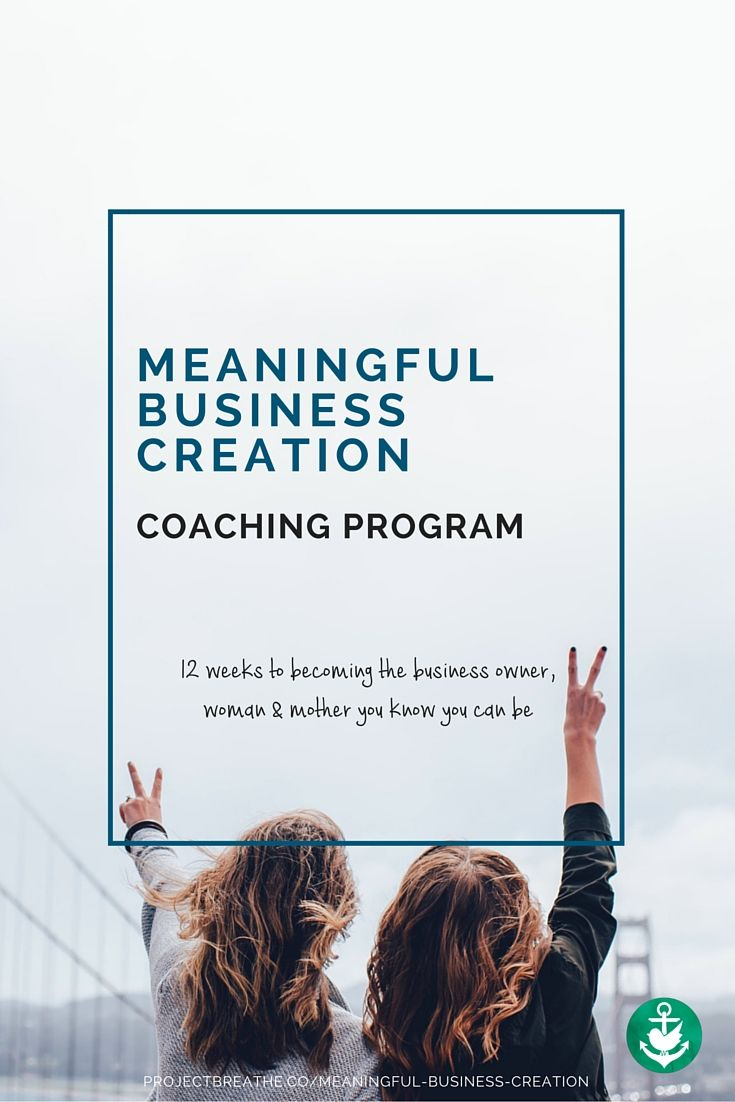 The Meaningful Business Creation is a 3 month coaching program to give you as a Mum the hope, clarity and purpose to develop a meaningful business. Start March 2016.