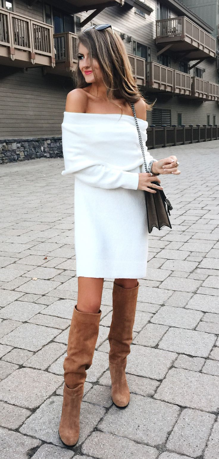 White dress boots - Off The Shoulder Sweater Dress Otk Boots