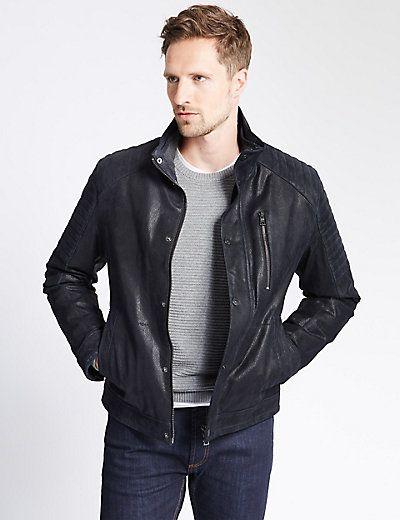 Leather Biker Jacket   M&S