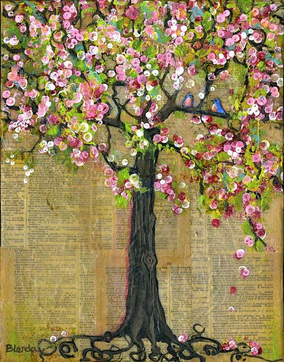 Inspirational, Art Tree Bird Print Wall Decor Bluebirds Blossoms Wall Art, Various Sizes, Uplifting